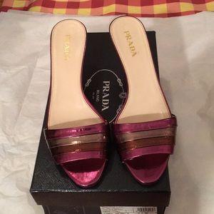 Prada metallic sandals.